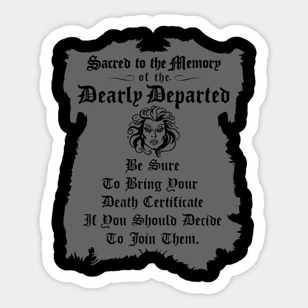 Haunted Mansion Death Certificate Haunted Mansion Sticker