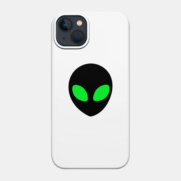 Alien with green eyes design for t-shirts, hoodies, stickers, cases, notebooks, pillows, totes, masks