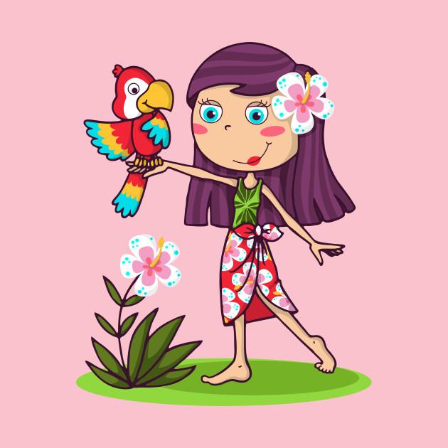 Hawaiian girl with her parrot