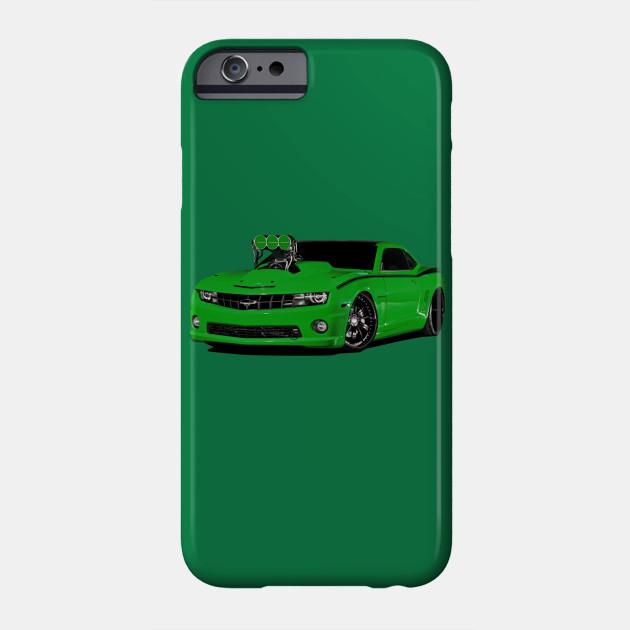 Chevy Camaro Blower Motor Hot Rod Green Art T-Shirt Phone Case