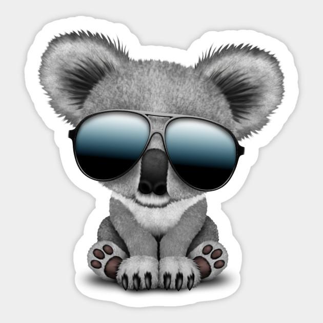 00476fa9c96 Cute Baby Koala Bear Wearing Sunglasses - Baby Koala - Sticker ...