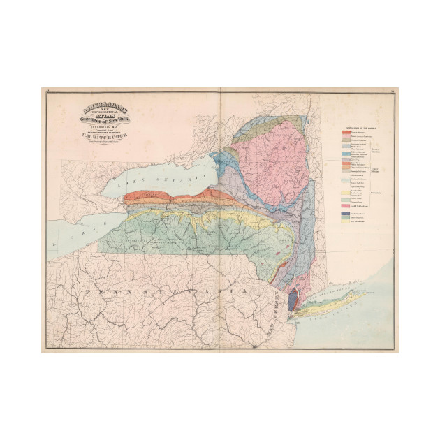 Vintage Geological Map of New York State (1870)