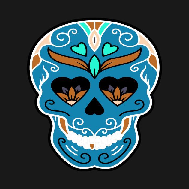 Sugar Skull Hearts and Flower Eyes Blue
