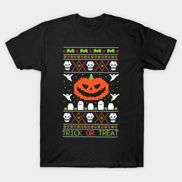 Ugly halloween sweater tombstones t shirt teepublic for Tacky t shirt ideas