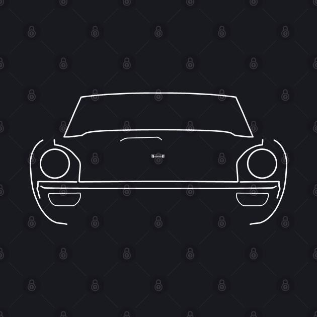 Jensen Healey 1970s classic sports car white outline graphic