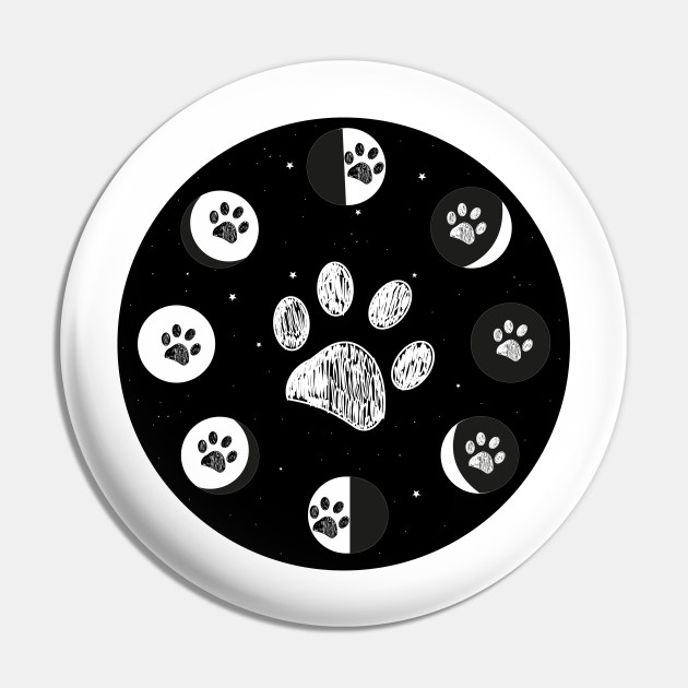 Paw print and moon phases