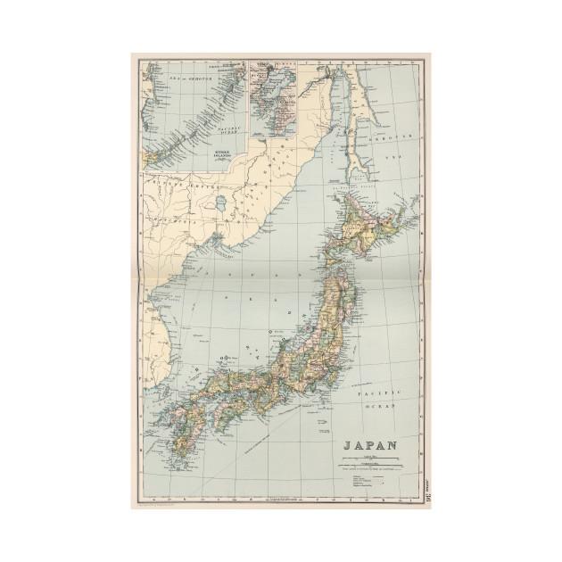 Vintage Map Of Japan 1892 Japan Map Kids T Shirt Teepublic