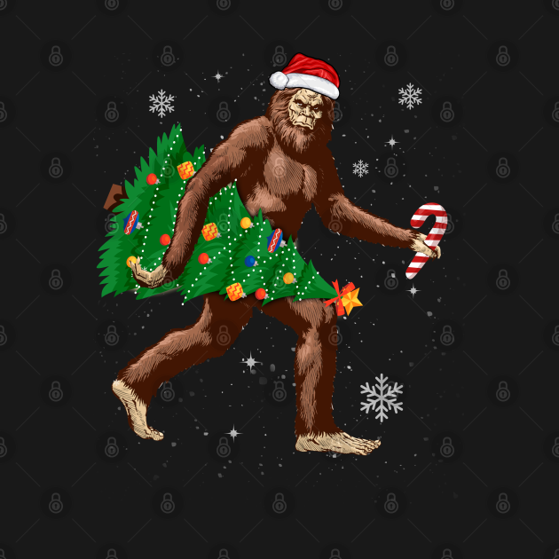 Sasquatch Carrying Christmas Tree Santa Hat ELF Funny Xmas