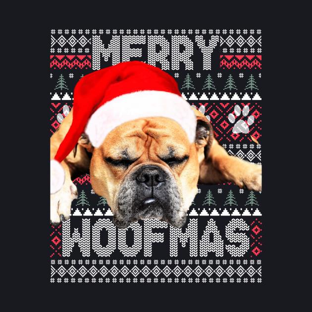 b49740bab9463 Merry Woofmas Cute Brown English Bulldog with Santa Hat - Bulldog ...