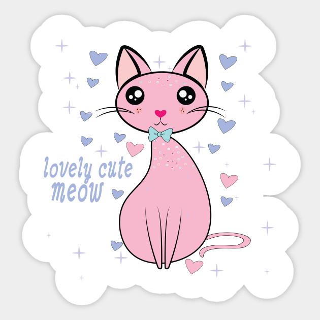 Lovely Cute Cat Pink Cat Sticker Teepublic