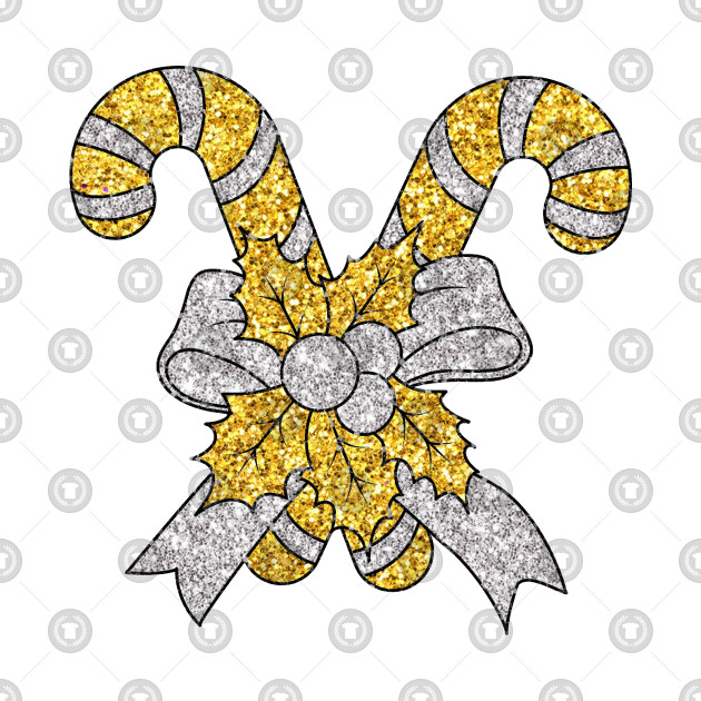 Christmas Gold/Silver Glitter Candy Cane (White)
