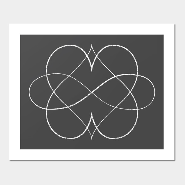 Poly Double Heart Symbol Thin Etched Polyamory Wall Art