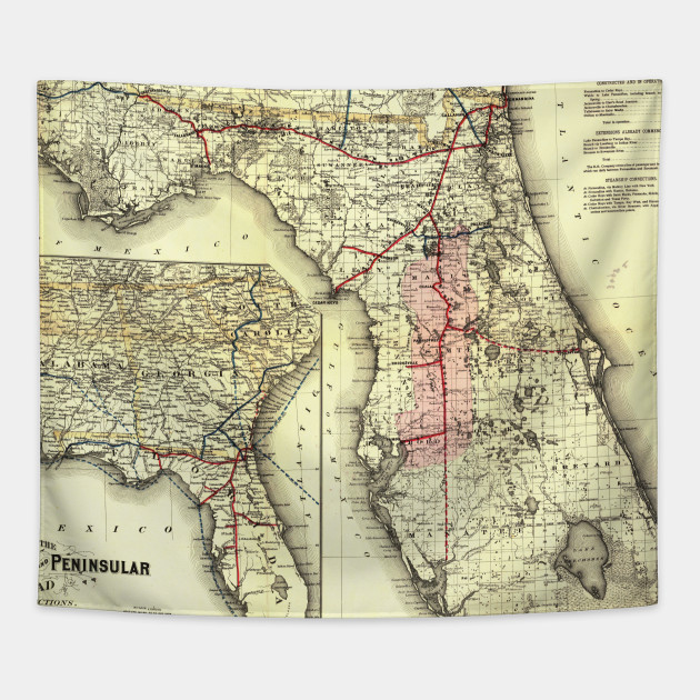 Florida Railroad Map.Vintage Florida Railroad Map 1882 Florida Railroad Map