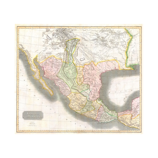 vintage map of mexico 1814 mexico map t shirt teepublic