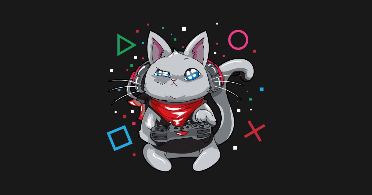 Вышитые, крутые рисунки с котом геймером