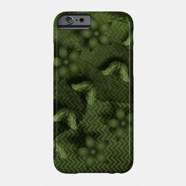 Camouflaged butterflies and flowers in green