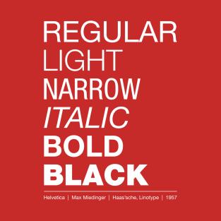 Helvetica Font t-shirts