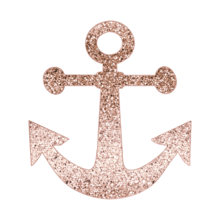 Sparkling Rose Gold Anchor T Shirt