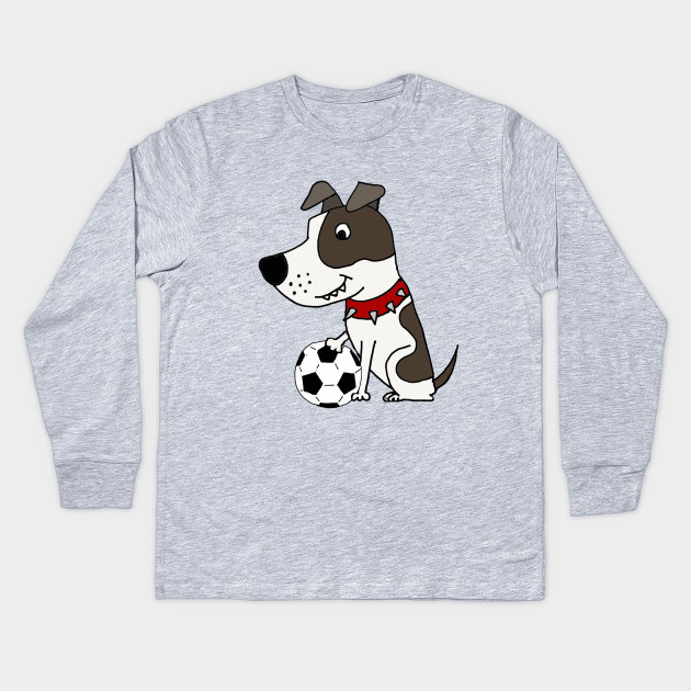 01ec66c1 Funny Pitbull Playing Soccer Cartoon - Pitbull - Kids Long Sleeve T ...