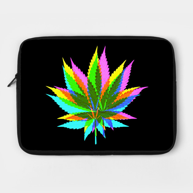Marijuana Weed Leaves Psychedelic Neon Colored 2 Cannabis