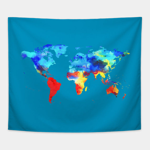 Painted Watercolor Map of the World - Map Of The World - Tapestry ...