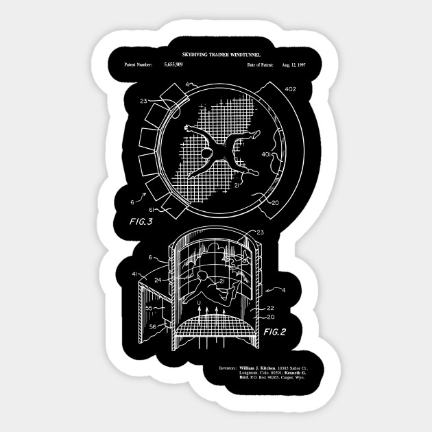 3b86588ea Indoor Skydiving Simulator Patent Invention - Skydiver - Sticker ...
