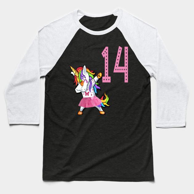 14th Birthday Unicorn Girl For 14 Years Old Woman Lady Baseball T Shirt
