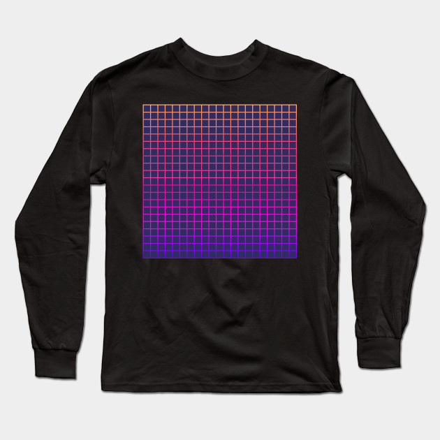 1980s Grid - Vaporwave Aesthetic - Long Sleeve T-Shirt | TeePublic