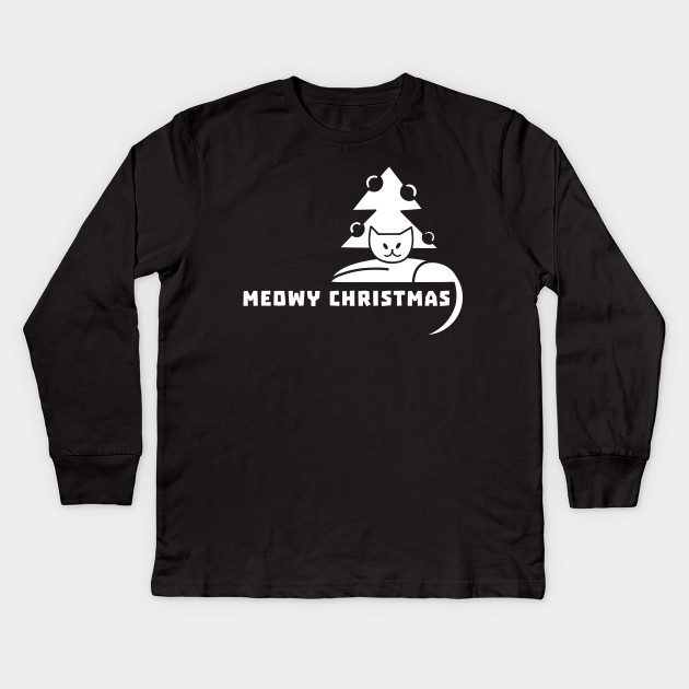 7c4aa2522 Meowy Christmas T-Shirt Christmas Holiday Funny Cat Lover Kitten Gift Tee  Tshirt Kids Long Sleeve T-Shirt