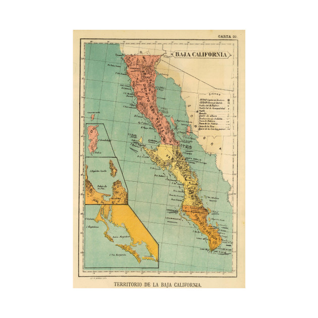 Vintage Map of Baja California (1899) - Baja California Map - Phone ...