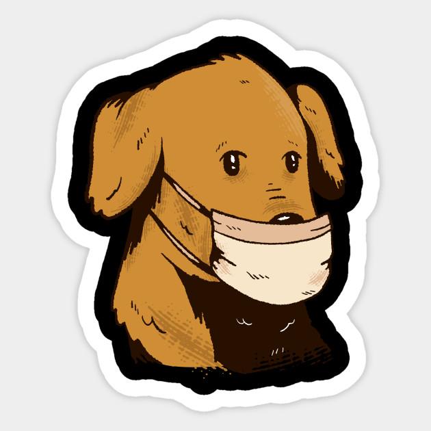 Dog With Face Mask Face Mask Sticker Teepublic