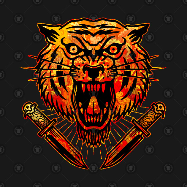 625346bcc ... Tiger with Knives Vintage Tattoo Flash American Traditional