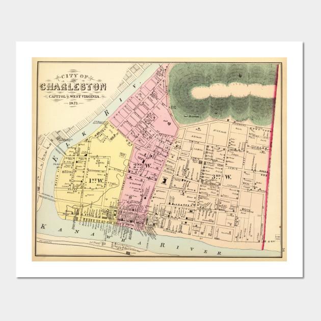 Vintage Map Of Charleston West Virginia 1873 Charleston Wv Map