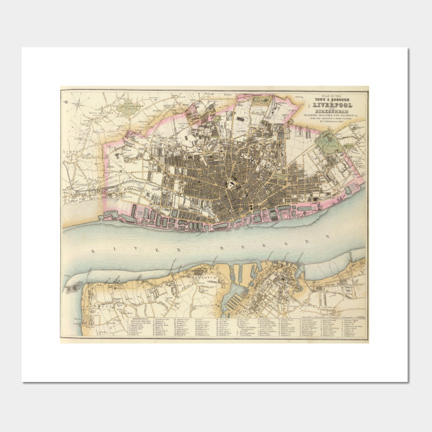 Liverpool On The Map Of England.Vintage Map Of Liverpool England 1872 Liverpool Map Posters