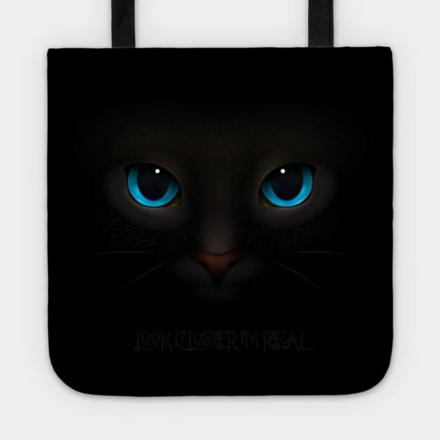 Black Cat Blue Eyes Very Real Black Cat Tote Teepublic
