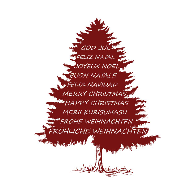 Merry Christmas In Different Languages.Merry Christmas Tree In Different Languages