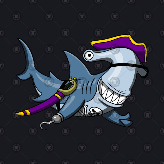 Hammerhead Shark Pirate Funny Cartoon Ocean