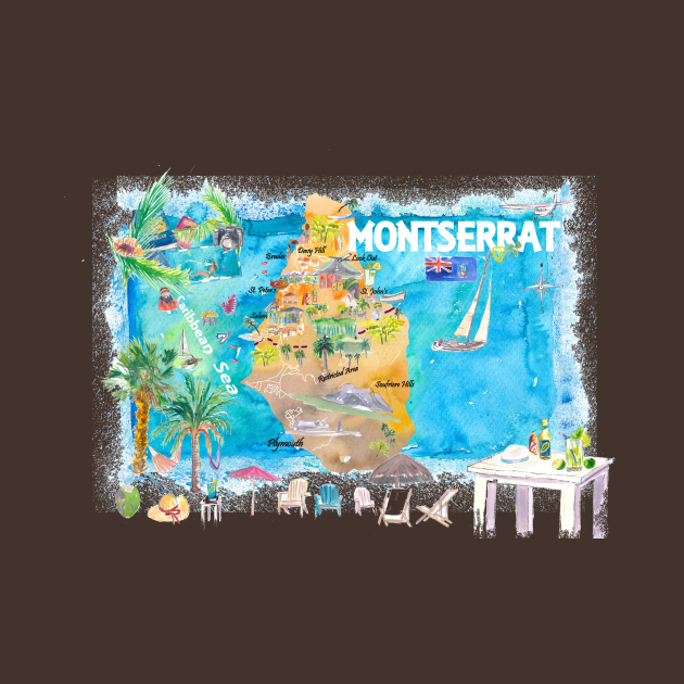 Montserrat Illustrated Travel Map with Roads and Highlights