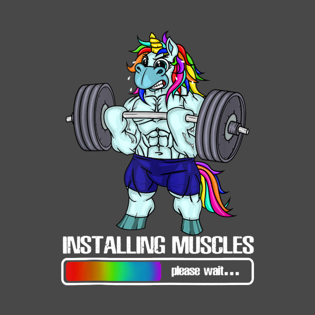 578cd63f Installing Muscles Unicorn Rainbow Dadacorn Fathers Day - Installing Muscles  - Kids T-Shirt | TeePublic