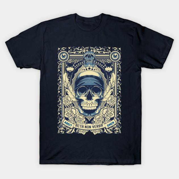 Occult Esoteric Skull, Action Over Words, Latin Phrase