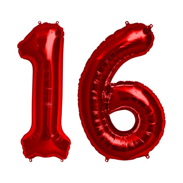 Bright Red 16th Birthday Metallic Helium Balloons Numbers