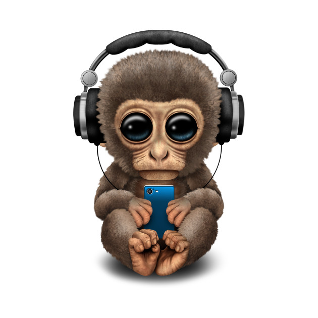 Cute Baby Monkey With Cell Phone Wearing Headphones