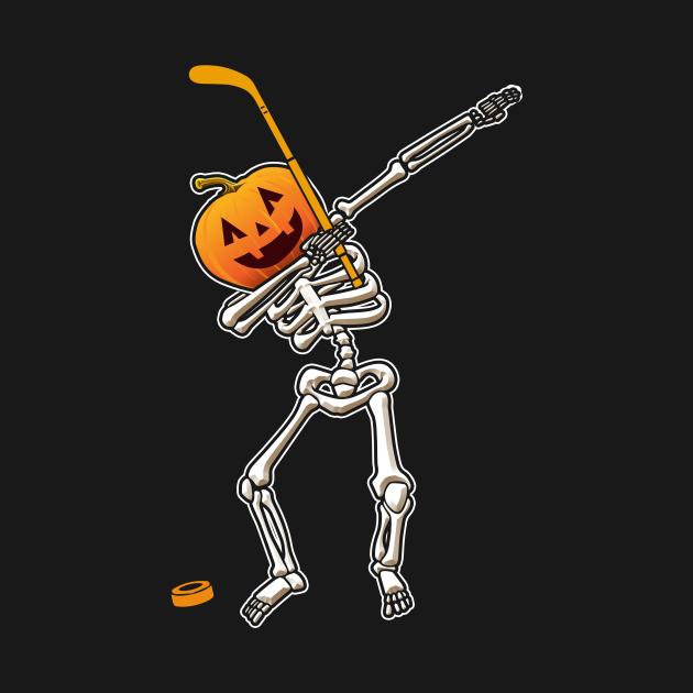 Halloween Dabbing Skeleton Hockey