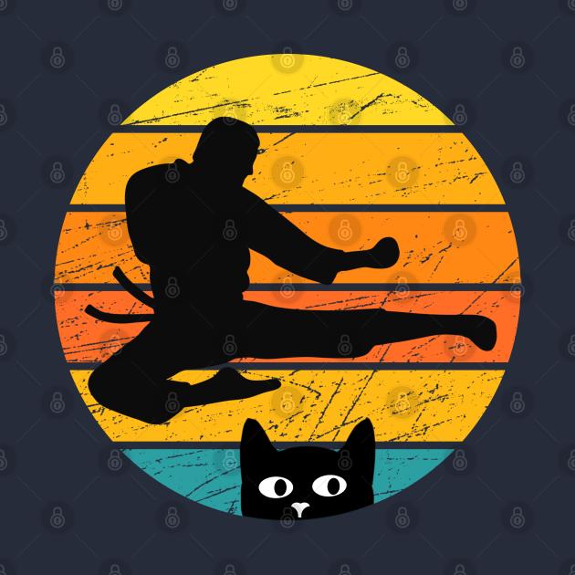 Retro Silhouette Karate Cat Design