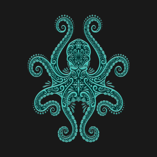 Intricate Teal Blue Octopus t-shirts