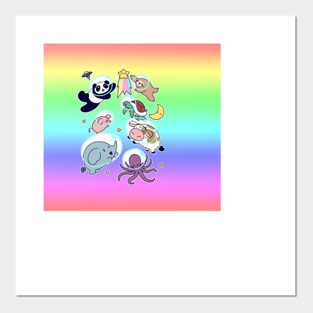 Space Animals Ombre Rainbow