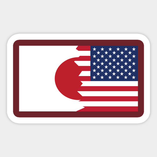 japanese american flag japanese american sticker