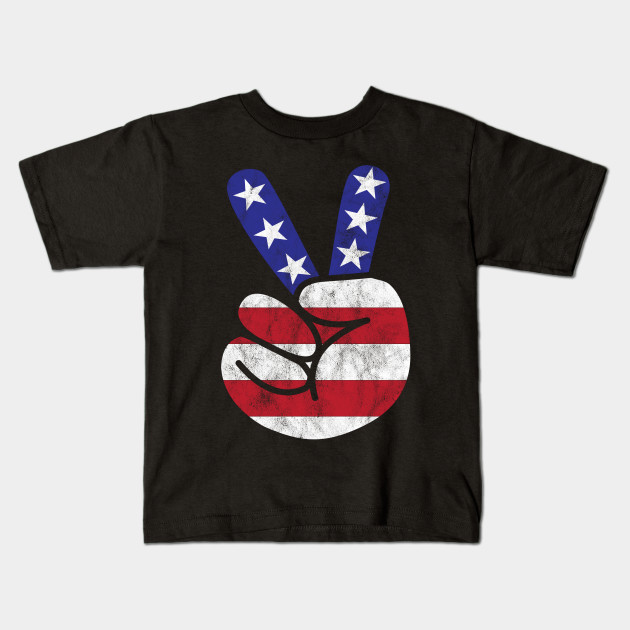 American Flag Peace Sign 4th of July USA T-Shirt Independence day