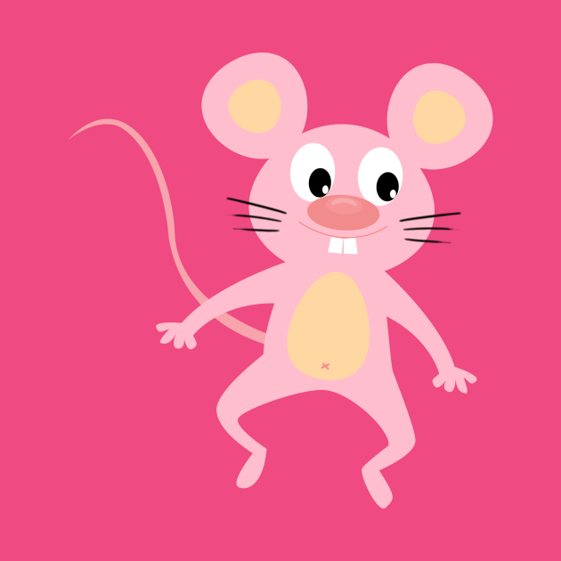 Happy and funny pink mouse