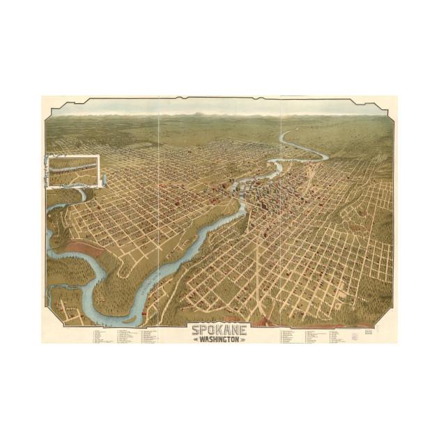 Vintage Pictorial Map of Spokane Washington (1905)